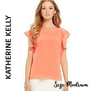 Katherine Kelly SILK Flutter Sleeve Blouse Size M